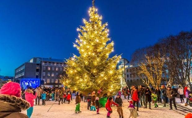 レイキャビク中心地にあるクリスマスツリー