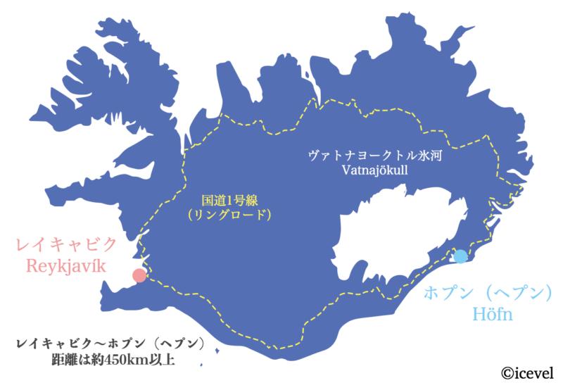 アイスランドの地図(レイキャビクとホプン)